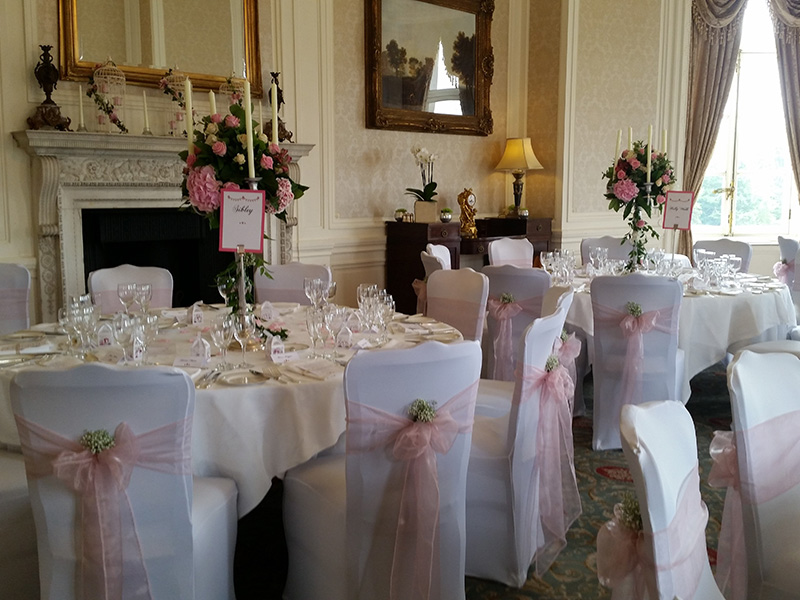 Chair Covers Pink And Flowers Wedding Venue Decorators