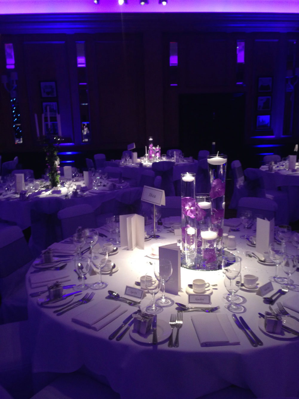 Modern purple table centrepiece